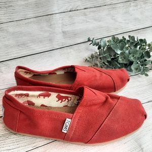 TOMS Red Canvas Pull on shoes elephant 7